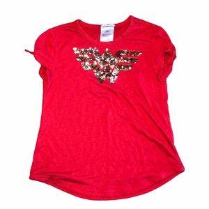Wonder Woman Short Tye Sleeve Sequence Tshirt-SZ M
